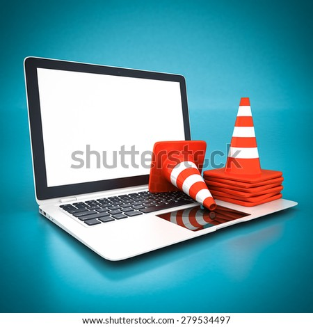 Single traffic cone and white laptop on a blue background - stock photo