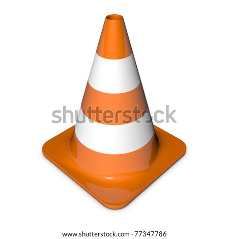 single traffic in 3d with shiny orange and white stripes - stock photo
