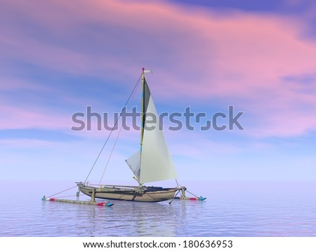 Single trimaran boat floating on the water by pink sunset - stock photo