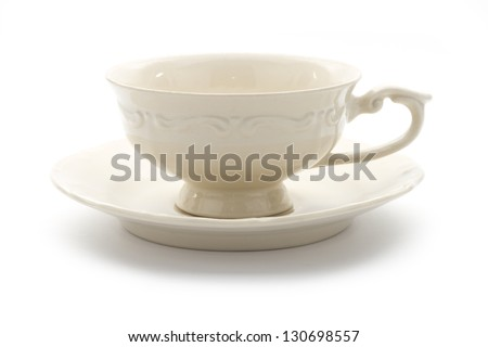 single vintage porcelain  teacup on saucer isolated on white background - stock photo