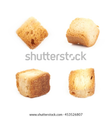 Single white bread garlic crouton isolated over the white background set of four different foreshortenings - stock photo
