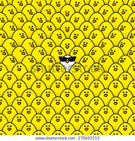 Single White Chick wearing cool Ladies Retro Sunglasses Surrounded by Repeating Yellow Chicks with some staring in its direction - Raster - stock photo