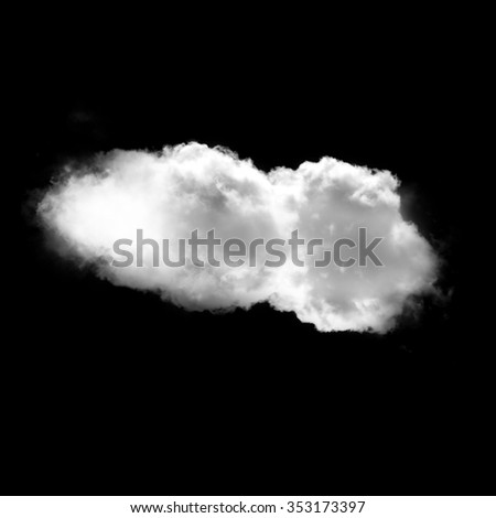Single white cloud isolated over black background illustration, nature and technology concept - stock photo