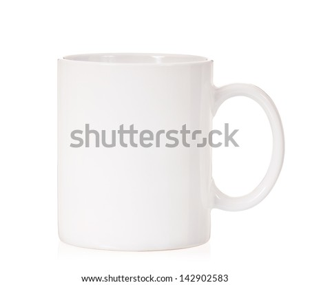 Single white cup, isolated on white background - stock photo
