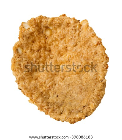 Single whole grain cereal flakes isolated over the white background. - stock photo