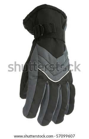 Single winter glove isolated on white background - stock photo