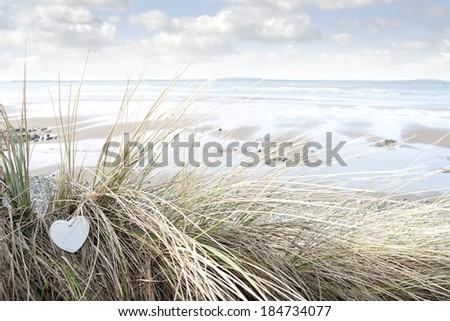 single wooden love heart in dunes on an Irish beach in summer - stock photo
