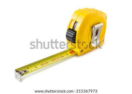Single yellow and black tape measure - stock photo