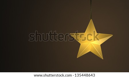 Single yellow hanging star light over a dark background - stock photo