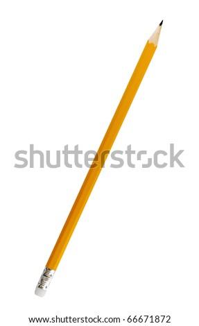 Single yellow pencil on white background - stock photo