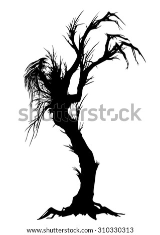 Sinister tree silhouette. Illustration a silhouette of a lone tree like a monster. - stock photo