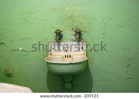 Sink in an Alcatraz cell - stock photo