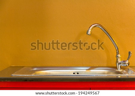 Sink in the kitchen for wash - stock photo