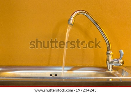 Sink in the kitchen for washing - stock photo