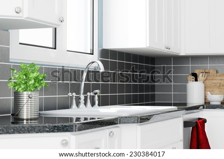 Sink with faucet in clean white modern kitchen (3D Rendering) - stock photo