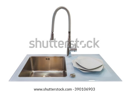 sink with faucet isolated on white background - stock photo