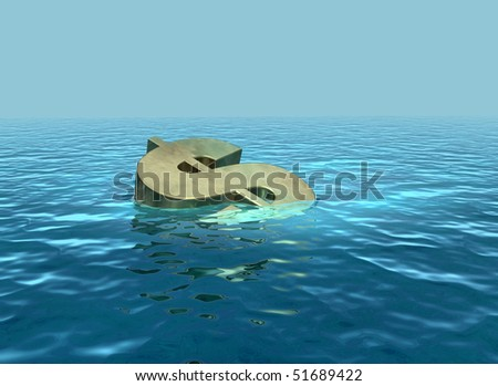 Sinking dollar going down - stock photo