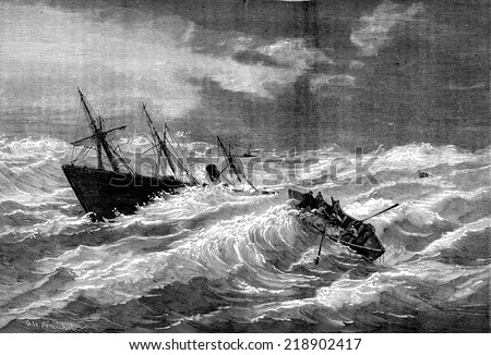 Sinking of the steamer Dieppe Valentine in the vicinity of Lizard, vintage engraved illustration. Journal des Voyages, Travel Journal, (1879-80). - stock photo