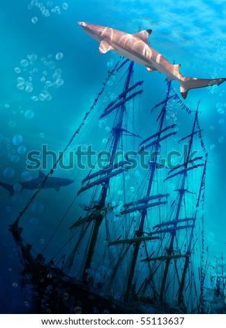 Sinking ship on sea bottom  and sharks - stock photo