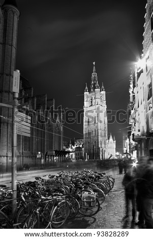 Sint Baafskathedraal in Ghent during the Festival of Lights. - stock photo