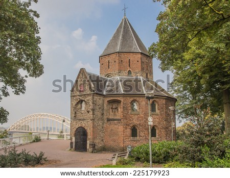 Sint Nicolaas church and waalbrug in Nijmegen, Holland - stock photo