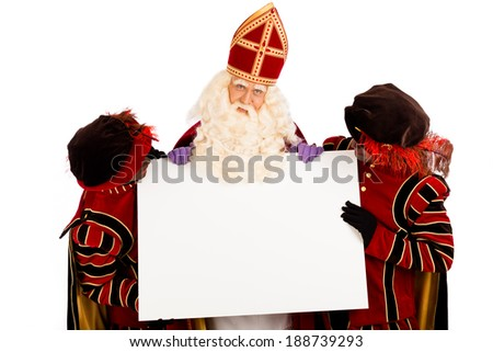 Sinterklaas and zwarte pieten with placard. isolated on white background. Dutch character of Santa Claus - stock photo
