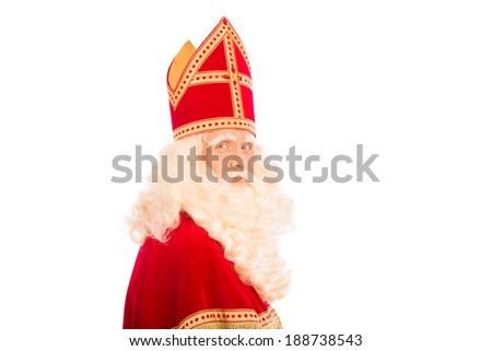 Sinterklaas portrait. isolated on white background. Dutch character of Santa Claus - stock photo