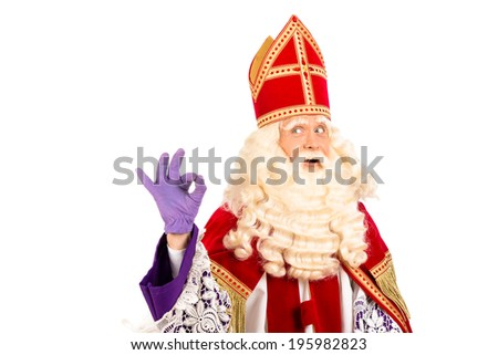 Sinterklaas portrait.Showing okay. isolated on white background. Dutch character of Santa Claus - stock photo