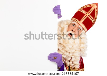 Sinterklaas with blank paper. isolated on white background. Dutch character of Santa Claus - stock photo