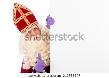 Sinterklaas with whiteboard. isolated on white background. Dutch character of Santa Claus - stock photo