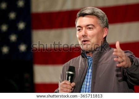 SIOUX CENTER, IOWA - JANUARY 16, 2016: Colorado Senator Cory Gardner speaks at a political rally in Iowa. - stock photo