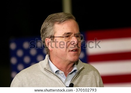 SIOUX CENTER, IOWA - JANUARY 29, 2016: Presidential Candidate, Jeb Bush, speaks at a campaign stop in Sioux Center, IA.  Bush is the former governor of Florida. - stock photo