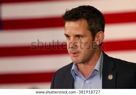 SIOUX CENTER, IOWA - JANUARY 29, 2016: U.S. Representative Adam Kinzinger of Illinois speaks at a political rally. - stock photo