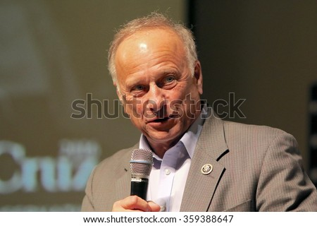 SIOUX CENTER, IOWA - JANUARY 5, 2016: U.S. Representative Steve King of Iowa speaks at a political rally. - stock photo
