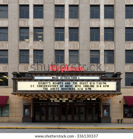 SIOUX CITY, IOWA - OCTOBER 15: Orpheum Theatre (1927) on Pierce Street on October 26, 2015 in Sioux City, Iowa - stock photo