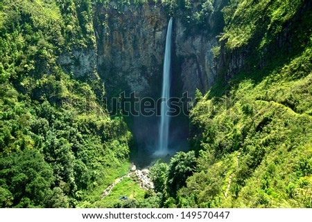 Sipiso piso waterfall on the north side of Lake Toba, near Medan, North Sumatra, Indonesia. - stock photo