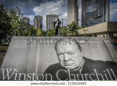 Sir Winston Churchill Memorial in Toronto, Canada with his statue in the background. - stock photo