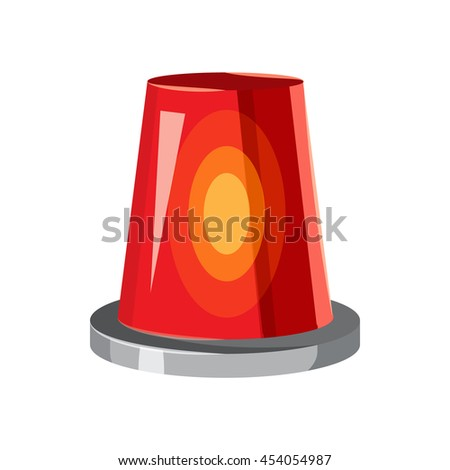 Siren red flashing emergency light icon in cartoon style on a white background - stock photo