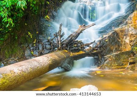 Siribhum waterfall at Chiang Mai province, Thailand - stock photo