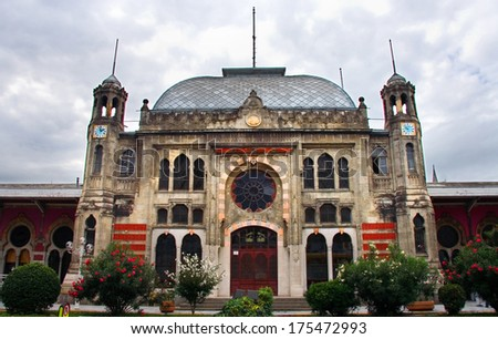 Sirkeci railway station historic architecture, last station of the Orient Express in Istanbul, Turkey  - stock photo