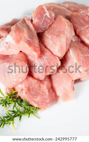 Sirloin steak sliced raw pork tacos - stock photo