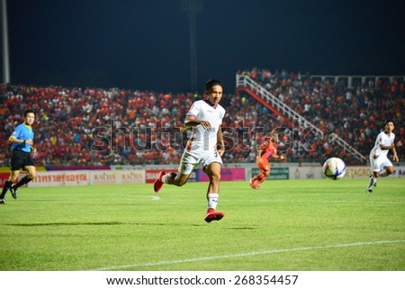 SISAKET THAILAND-APRIL 4: Prakasit Sansuk (White) of Thai Port FC. in action during Thai Premier League between Sisaket FC and Thai Port FC at Sri Nakhon Lamduan Stadium on April 4,2015,Thailand - stock photo