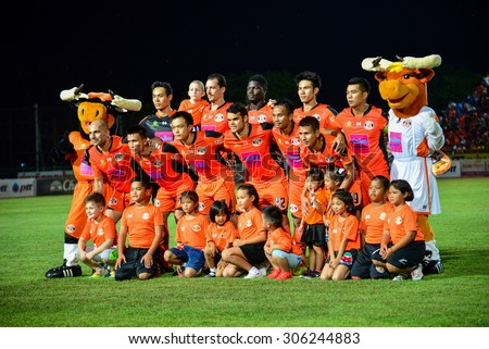 SISAKET THAILAND-AUGUST 9: Players of Sisaket FC pose for a team picture prior to Thai Premier League between Sisaket FC and Buriram united at Sri Nakhon Lamduan Stadium on August 9,2015,Thailand - stock photo