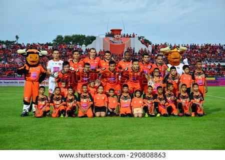 SISAKET THAILAND-JUNE 21: Players of Sisaket FC pose for a team picture prior to Thai Premier League between Sisaket FC and Navy FC at Sri Nakhon Lamduan Stadium on June 21,2015,Thailand - stock photo