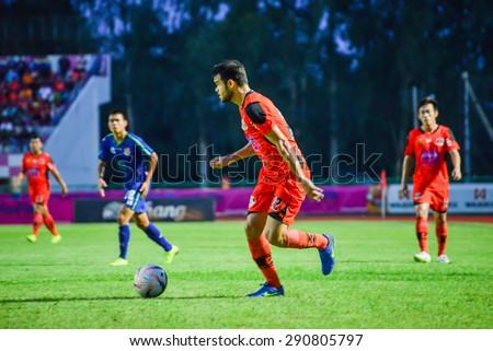 SISAKET THAILAND-JUNE 21: Victor Amaro (orange) of Sisaket FC. in action during  Thai Premier League between Sisaket FC and Navy FC at Sri Nakhon Lamduan Stadium on June 21,2015,Thailand - stock photo
