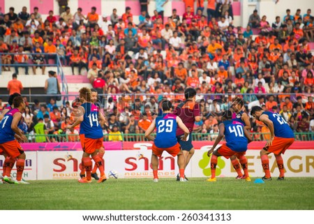SISAKET THAILAND-MARCH 7: Players of Sisaket FC. in action during a training ahead Thai Premier League between Sisaket FC and Gulf Saraburi FC at Sisaket on March 7,2015,Thailand - stock photo