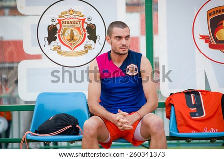SISAKET THAILAND-MARCH 7: Zakov Gerasim Valeriev of Sisaket FC. in action during a training ahead Thai Premier League between Sisaket FC and Gulf Saraburi FC at Sisaket on March 7,2015,Thailand - stock photo