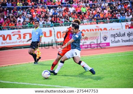 SISAKET THAILAND-MAY 3: Kritsadee Prakobkong (no.3) of Chiangrai Utd. in action during Thai Premier League between Sisaket FC and Chiang rai united at Sri Nakhon Lamduan Stadium on May 3,2015,Thailand - stock photo