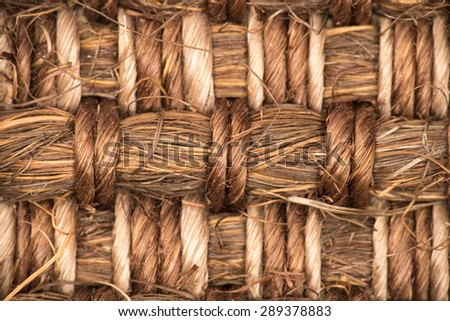 Sisal carpet macro, overhead view - stock photo