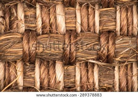 Sisal carpet macro, overhead view - stock photo